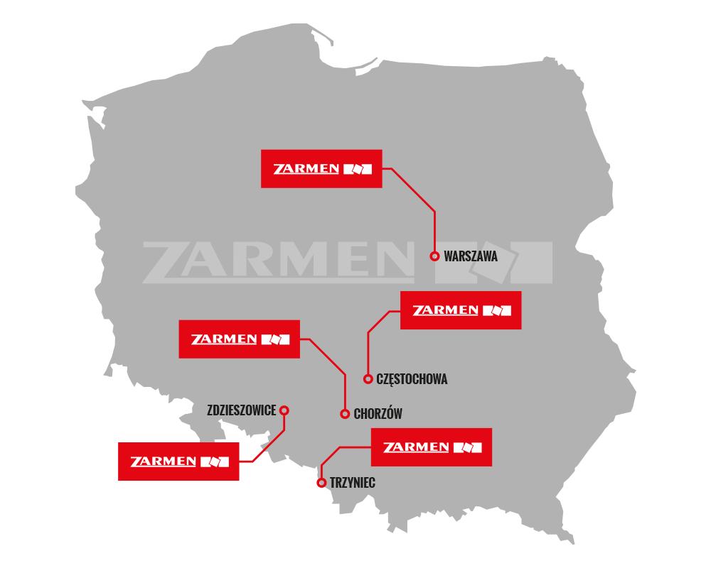Rozkład zakładów Zarmen Sp. z o.o. na mapie Polski